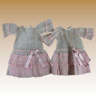Two Antique Factory Sister Pink Dresses