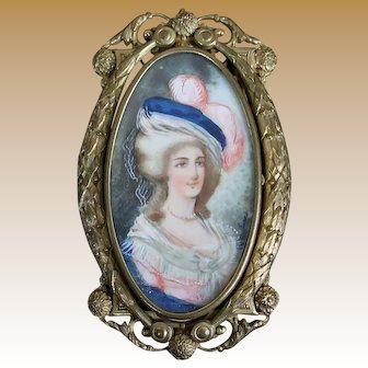 Incredible Miniature Framed Porcelain Painting