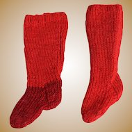 Early Antique Hand Knit Wool Doll Socks