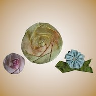 Three Vintage Ribbon Roses for Doll Costuming