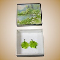Lovely Antique Green Glass Doll Earrings with Box