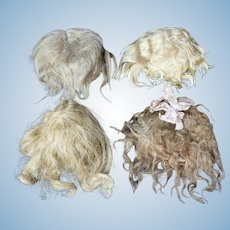Group of 4 Antique and Vintage Mohair Wigs