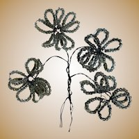 Beautiful Antique Beaded Wired Flowers