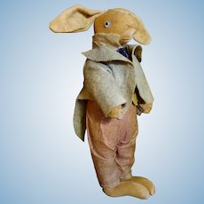 "Charming Vintage 12"" Folk Art Velveteen Rabbit with Original Clothes"