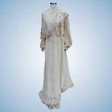 Silk Victorian Woman's Wedding Skirt and Blouse for Doll Costuming