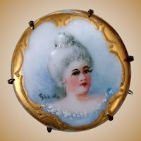 Small Antique Hand Painted Limoges Pin for Doll