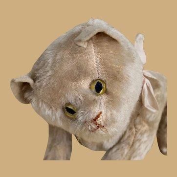 "Fabulous Antique Jointed Steiff Cat, 9 1/2"""