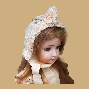 Beautiful Antique French Lace Bonnet for Bebe