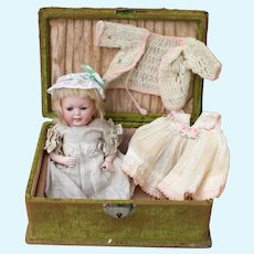 """Rare All Bisque  6 1/2"""" Hertel & Schwab Baby 150, Original Outfit and Trunk"""