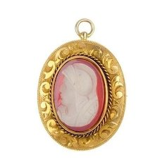 Antique 10K Yellow Gold Carved Hardstone Cameo Pin Pendant