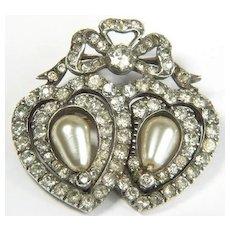 Antique Edwardian Silver Paste Ribbon Double Hearts Brooch