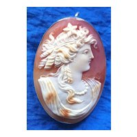 Vintage Silver Cameo Hope Pendant Pin Carved Shell