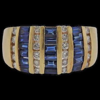 Estate Vintage 14K Yellow Gold Diamond Sapphire Ring