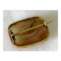 Antique Georgian 9K Gold Band Agate Brooch Pin