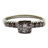 Vintage Large Size 0.50ct 1/2ct Diamond Engagement Ring White Gold 1940's