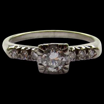 Vintage Large Size 0.50ct 1/2ct Diamond Engagement Ring White Gold 1940's
