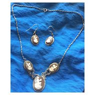 Vintage Carved Shell Cameo Silver Necklace Earrings Set