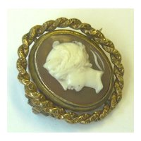 Antique Victorian Carved Cameo Swivel Locket Brooch
