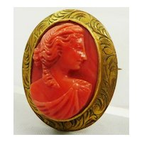 Antique 10K Gold Carved Coral Cameo Pin Pendant 1912