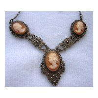 Vintage Silver Filigree Shell Cameo Necklace