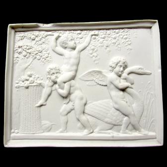 Antique Bing & Grondahl Parian Bisque Royal Copenhagen Plaque Cupid Cherubs Putti Swan