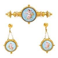 Antique Victorian Etruscan 10K Enamel Cherub Demi Parure Brooch Earrings