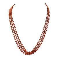 Victorian Natural Untreated Three Stand Hand Cut Coral Bead Necklace