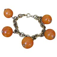 Vintage Art Deco Butterscotch Beads Ball Star Bracelet