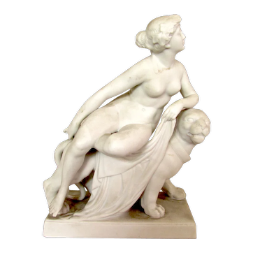Antique 19th Century Parian Figure Sculpture Ariadne and the Panther