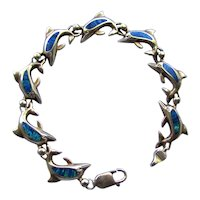 Vintage 14K Yellow Gold Genuine Black Opal Dolphin Link Bracelet