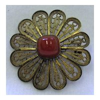 Vintage 925 Sterling Silver Filigree Flower Brooch Carnelian