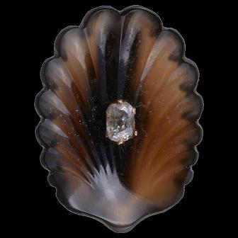 Victorian Rose Gold Carve Hardstone Diamond Shell Brooch