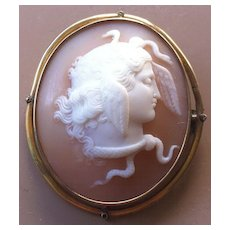 Antique Victorian Carved Shell Cameo Brooch Medusa