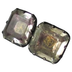 Antique Georgian Stuart Crystal with Ciphers Silver Cufflink