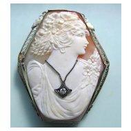 Art Deco 14K White Gold Filigree Carved Shell Cameo Diamond Habille Hexagon Brooch Pendant
