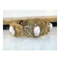 Antique Silver Vermeil Filigree Full Face Shell Cameo Bracelet Original Bakelite Box