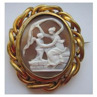 Antique Victorian Carved Shell Cameo Winged Cherub Angel and Muse Swivel Photo Locket Brooch