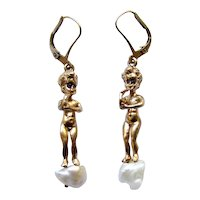 Vintage Estate 14K Yellow Gold Sapphire Cherub Pearl Earring