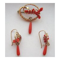 Antique Victorian Red Coral Earrings Brooch Pin Demi Parure Set
