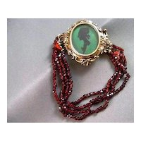 Antique 10K Gold Sterling Silver Silhouette Bohemian Garnet Bracelet