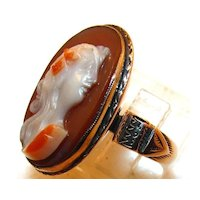 Antique Victorian 14K Yellow Gold Carnelian Hard Stone Cameo Ring