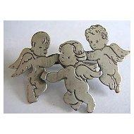 Vintage Three Angels or Winged Cherub Pin