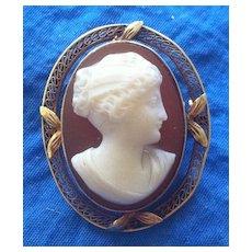 Antique Edwardian 14K Gold Filigree Hardstone Cameo Brooch Psyche