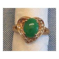 New Old Stock Vintage 18K Gold Jadeite Jade Diamond Heart Ring