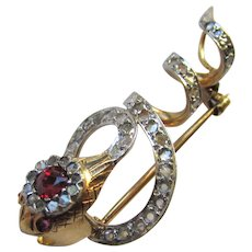 Antique French 18K Yellow Gold Platinum Rose Cut Diamond Ruby Spinel Snake Brooch Slide