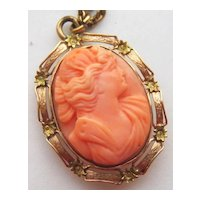 Antique Edwardian 14K Gold Carved Coral Cameo Pendant Pin Psyche