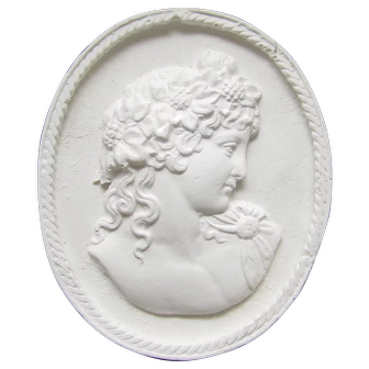 Vintage Framed Plaster Cameo Large Antinous and Goddess Wall Decoration