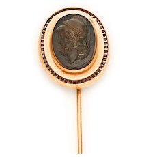 Victorian 14K Yellow Gold Carved Hardstone Stickpin