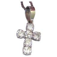 Estate 14K White Gold 0.60ct Diamond Cross Pendant Necklace