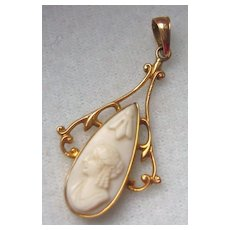 Antique Art Nouveau 10K Yellow Gold Carved Coral Cameo Pendant